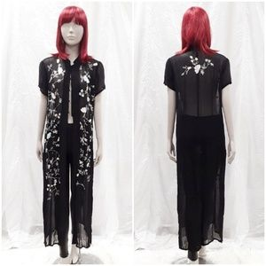 VTG black Floral embroidered Kimono Maxi Duster M